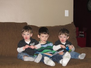 """The twins sign """"train"""" because, """"Even conductors go to the potty!"""""""